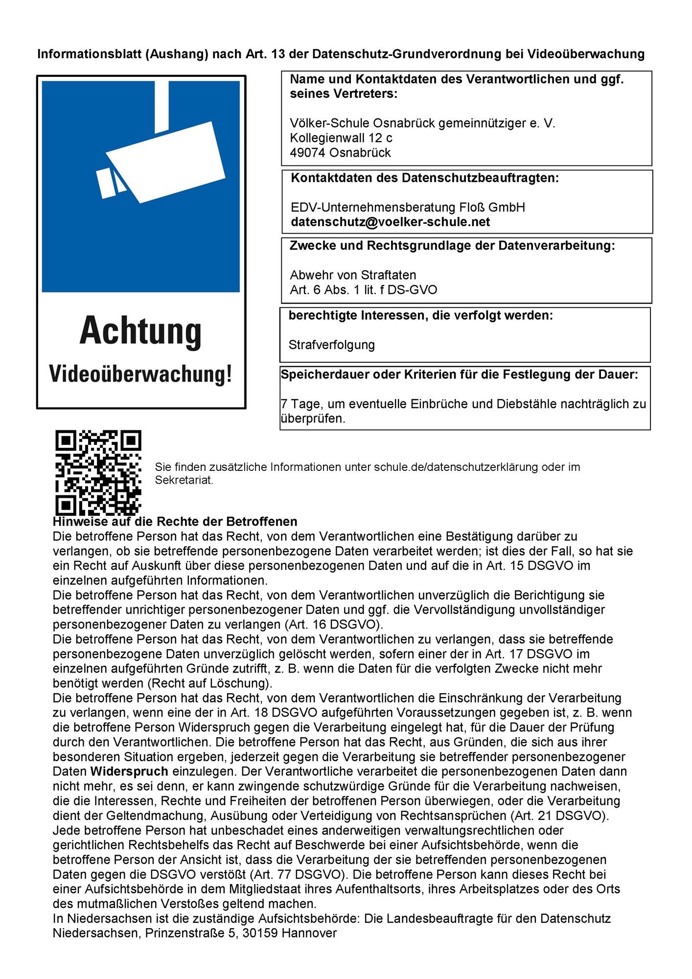 Völker-Schule | Datenschutzerklärung